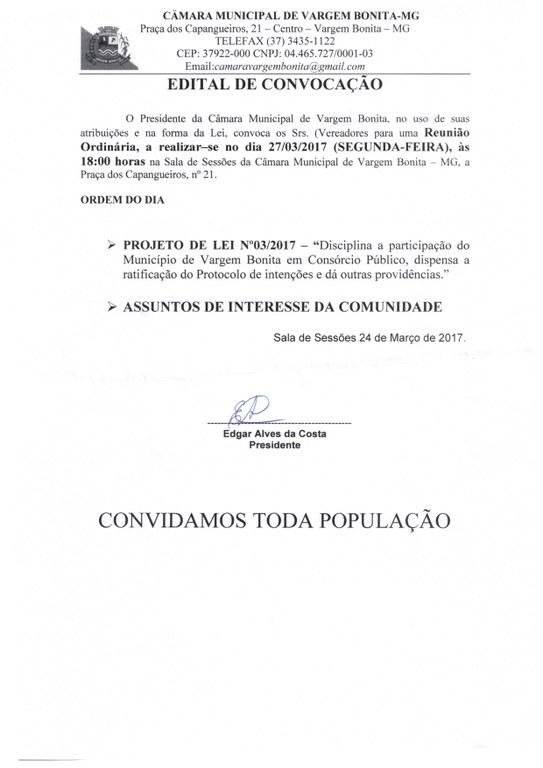 EDITAL DE CONVOCAÇÃO PARA REUNIÃO ORDINÁRIA DO DIA 27 DE MARÇO DE 2017.